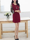 ByChicStyle Decorative Necklace Round Neck Pocket Printed Bodycon Dress - Bychicstyle.com