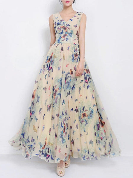 Casual V-Neck Butterfly Printed  Chiffon Maxi Dress