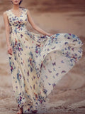 ByChicStyle Casual V-Neck Butterfly Printed  Chiffon Maxi Dress