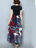 ByChicStyle Casual V-Neck Bowknot Graffiti Printed Maxi Dress
