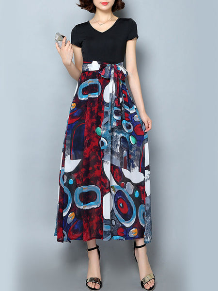 Casual V-Neck Bowknot Graffiti Printed Maxi Dress
