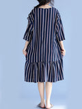 ByChicStyle Round Neck Ruffled Hem Vertical Striped Shift Dress - Bychicstyle.com