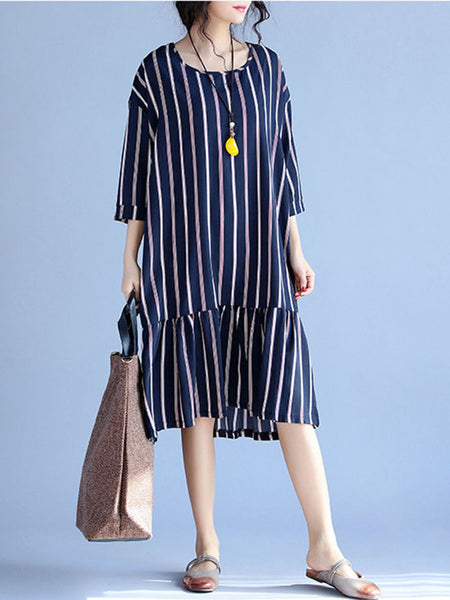 Round Neck Ruffled Hem Vertical Striped Shift Dress - Bychicstyle.com