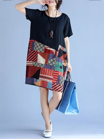 Casual Round Neck Color Block Printed Shift Dress - Bychicstyle.com