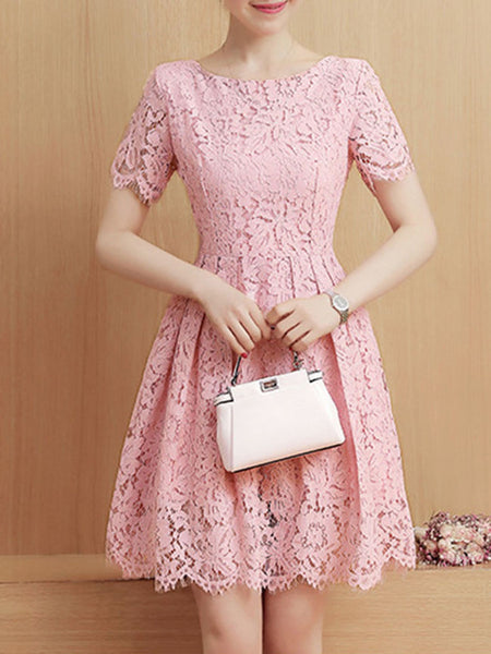 Round Neck Hollow Out Plain Lace Skater Dress - Bychicstyle.com