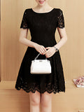 ByChicStyle Round Neck Hollow Out Plain Lace Skater Dress - Bychicstyle.com