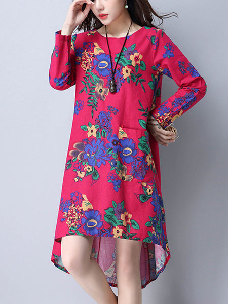 Round Neck High-Low Printed Shift Dress - Bychicstyle.com