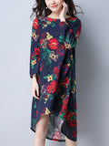 ByChicStyle Round Neck High-Low Printed Shift Dress - Bychicstyle.com
