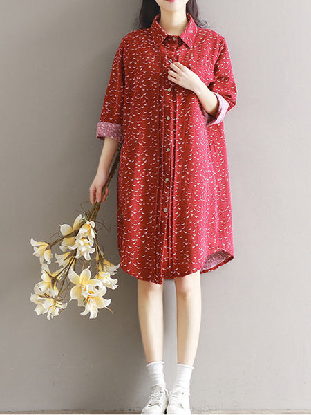 Turn Down Collar Printed Shirt Dress - Bychicstyle.com