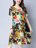ByChicStyle Casual Round Neck Decorative Button Printed Shift Dress With Patch Pocket
