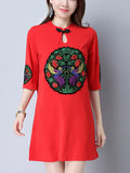 ByChicStyle Decorative Patch Crew Neck Keyhole Single Button Shift Dress - Bychicstyle.com