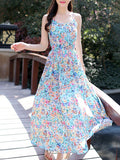 ByChicStyle Captivating Spaghetti Strap Allover Floral Printed Maxi Dress - Bychicstyle.com