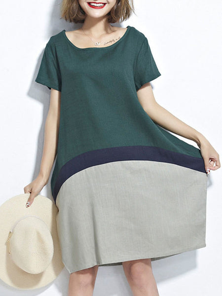 Round Neck Patchwork Color Block Sack Shift Dress - Bychicstyle.com