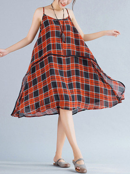 Oversized Spaghetti Strap Asymmetric Hem Plaid Chiffon Shift Dress - Bychicstyle.com