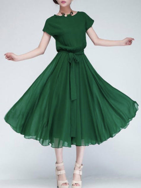 Casual Round Neck Bowknot Plain Chiffon Swing Charming Maxi Dress