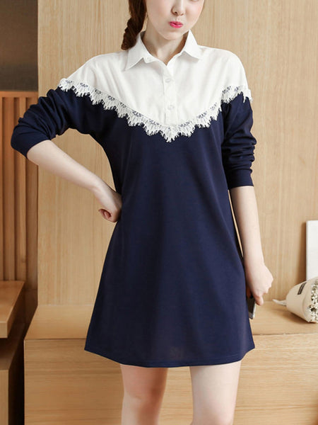 Casual Turn Down Collar Decorative Lace Color Block Shift Dress