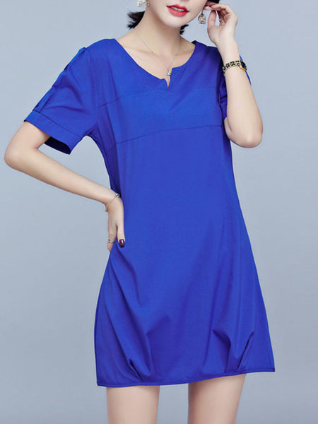 Split Neck Plain Cotton/Linen Shift Dress - Bychicstyle.com