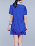 ByChicStyle Split Neck Plain Cotton/Linen Shift Dress - Bychicstyle.com