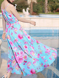 ByChicStyle Spaghetti Strap Delicate Floral Printed Maxi Dress - Bychicstyle.com