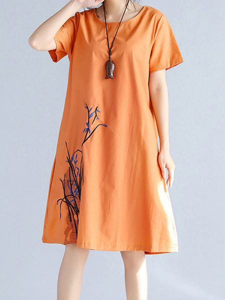 Casual Embroidery Round Neck Pocket Shift Dress