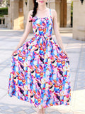 ByChicStyle Delightful Spaghetti Strap Abstract Print Blend Maxi Dress - Bychicstyle.com