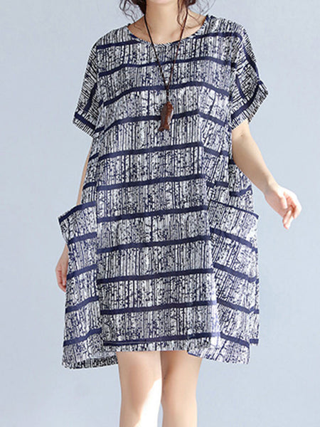 Round Neck Patch Pocket Striped Oversized Shift Dress - Bychicstyle.com