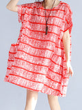 ByChicStyle Round Neck Patch Pocket Striped Oversized Shift Dress - Bychicstyle.com