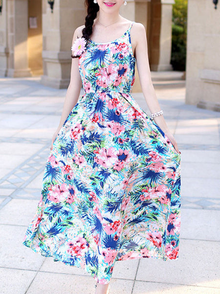 Spaghetti Strap Floral Printed Courtly Maxi Dress - Bychicstyle.com