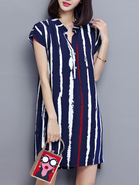 Split Neck Printed Vertical Striped Shift Dress - Bychicstyle.com