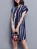 ByChicStyle Split Neck Printed Vertical Striped Shift Dress - Bychicstyle.com