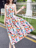ByChicStyle Spaghetti Exquisite Strap Abstract Print Maxi Dress - Bychicstyle.com
