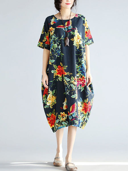 Round Neck Printed Sack Maxi Dress - Bychicstyle.com