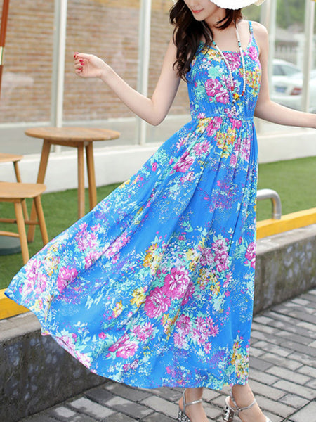 Spaghetti Strap Floral Printed Fabulous Maxi Dress - Bychicstyle.com