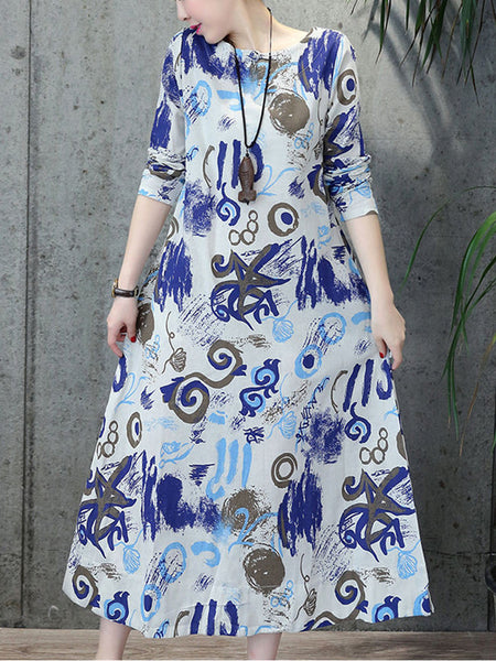 Casual Abstract Print Cotton Maxi Dress