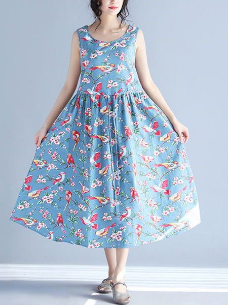 Casual Round Neck Bird Floral Printed Maxi Dress