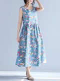 ByChicStyle Casual Round Neck Bird Floral Printed Maxi Dress