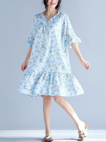 Sweet Heart Flounce Printed Bell Sleeve Shift Dress - Bychicstyle.com