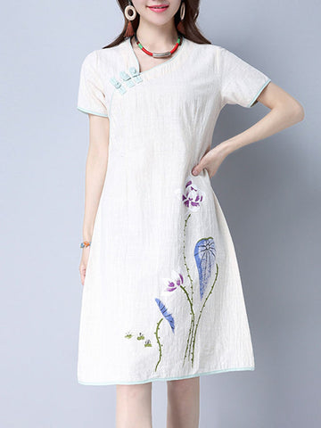 Asymmetric Neck Diagonal Buttons Printed Shift Dress - Bychicstyle.com