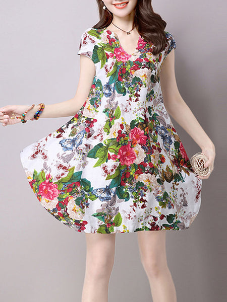 Split Neck Floral Printed Sack Shift Dress - Bychicstyle.com