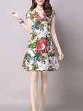 ByChicStyle Split Neck Floral Printed Sack Shift Dress - Bychicstyle.com