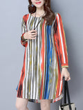 ByChicStyle Round Neck Multi-Color Vertical Striped Shift Dress - Bychicstyle.com
