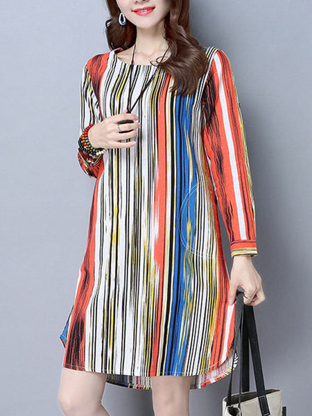 Round Neck Multi-Color Vertical Striped Shift Dress - Bychicstyle.com