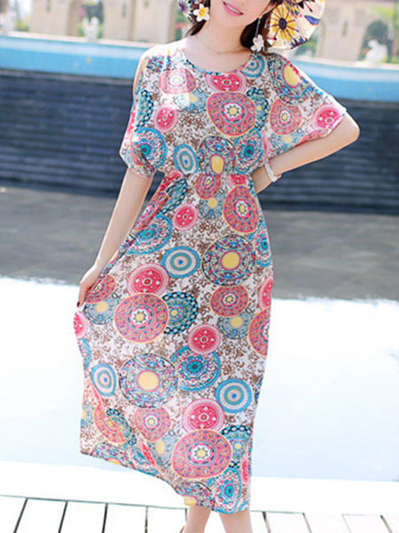 Swing Open Shoulder Elastic Waist Printed Maxi Dress - Bychicstyle.com