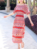 ByChicStyle Flowing Open Shoulder Vacation Printed Striped Maxi Dress - Bychicstyle.com