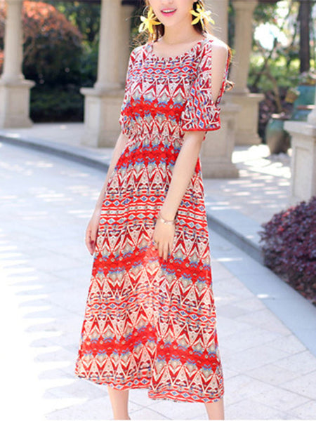 Flowing Open Shoulder Vacation Printed Striped Maxi Dress - Bychicstyle.com