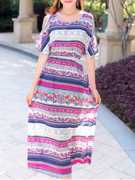Flowy Trendy Open Shoulder Printed Striped Maxi Dress - Bychicstyle.com
