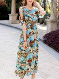 ByChicStyle Open Shoulder Colorful Abstract Print Maxi Dress - Bychicstyle.com