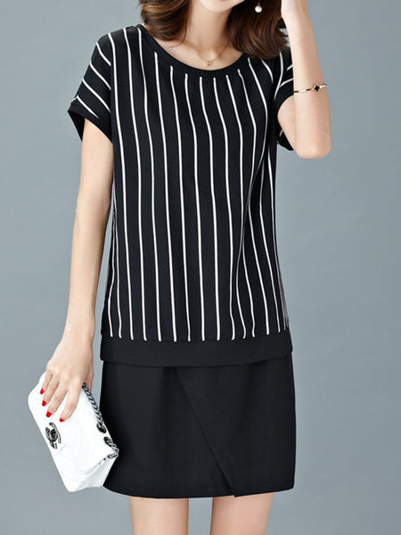 Round Neck Vertical Striped Shift Dress - Bychicstyle.com