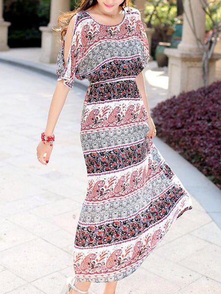 Open Shoulder Maxi Dress In Paisley Striped Printed - Bychicstyle.com