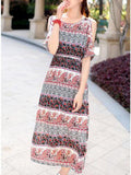 ByChicStyle Open Shoulder Maxi Dress In Paisley Striped Printed - Bychicstyle.com